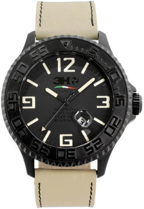3H Italia Mens BH04 Black Hole 52mm Black Dial Watch