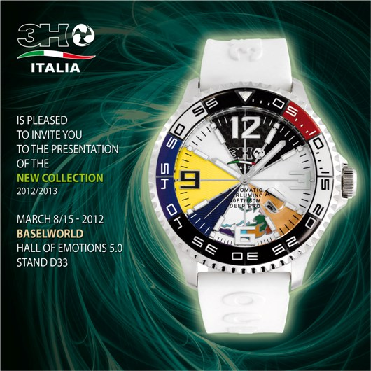 Invitation to the 3H Italia Exhibit, March 8-15, 2012 at Baselworld 2012, Hall 5.0, Booth D-33