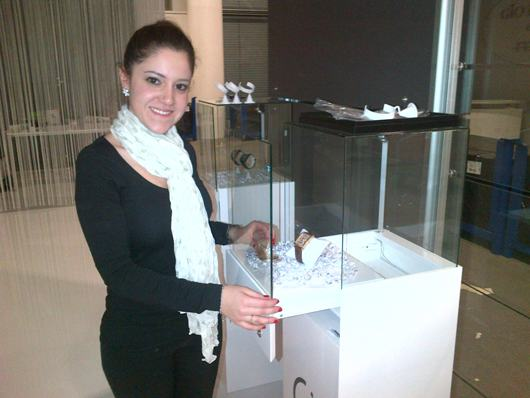 Maria Rinaldi Setting Up in the Gevril Baselworld 2012 Booth