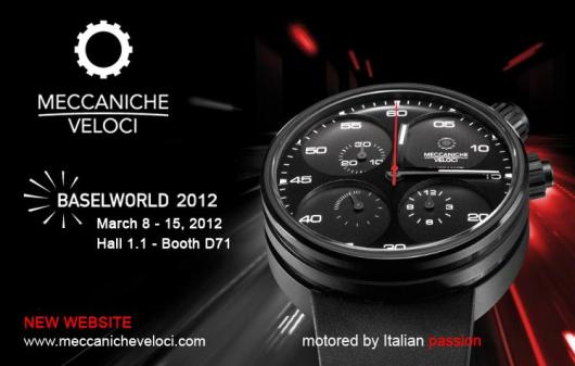 Invitation to the Meccaniche Veloci Exhibit, March 8-15, 2012 at Baselworld 2012, Hall 1.1, Booth D-71
