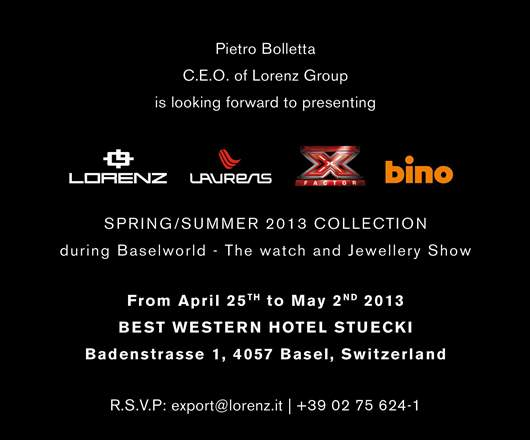 Invitation to the Lorenz Group Watch Exhibit, April 25 - May 2, 2013 at the Best Western Hotel Stücki near the Basel Fairgrounds