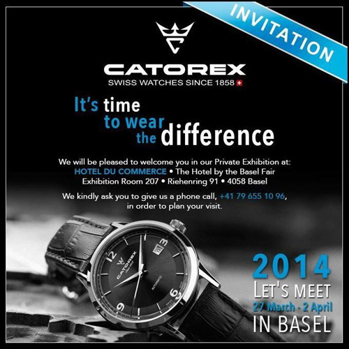 Invitation to the Catorex Exhibit, March 27 – April 2, 2014 at the Hotel du Commerce near the Basel Fairgrounds