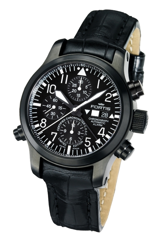 Fortis Mens 657.18.11 L 01 B-42 Flieger Black Chronograph Alarm Luxury Watch