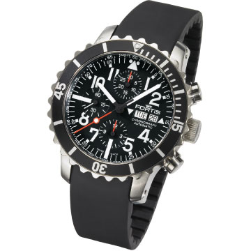 Fortis Men 671.10.41K B-42 Marinemaster Automatic Chronograph Black Dial Watch