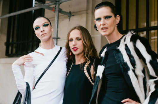 Allegra Versace, Mariacarla Boscono, and Stella-Tennant During a Haute Couture Fall/Winter 2014 & Versace Street Style Photo Shoot