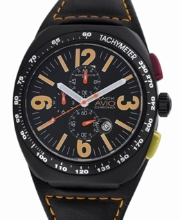 Avio Milano Mens BK4802 Black Collection Chronograph Watch
