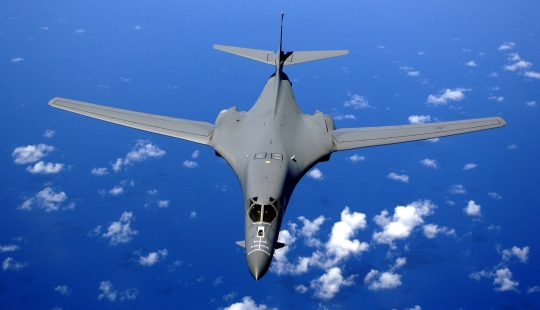 Legendary B-1B Lancer Over Pacific Ocean