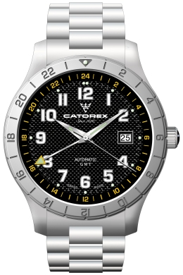 Catorex Mens 128.1.8164.321-BM Voyager 3 Collection Automatic Luminous Black Dial Watch