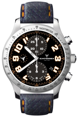Catorex Mens 138.1.8169.320-BR Chrono Sport Collection Automatic Luminous Black Dial Chronograph Watch