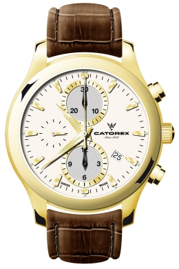 Catorex Mens 138.6.8169.151 Chrono Tradition Collection Automatic White Dial Chronograph Watch