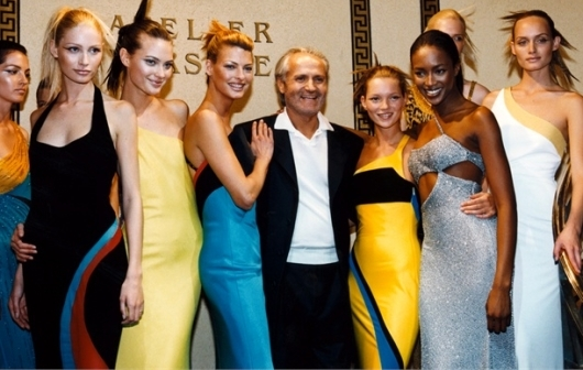 Gianni With Supermodels at Atelier Versace Runway Show