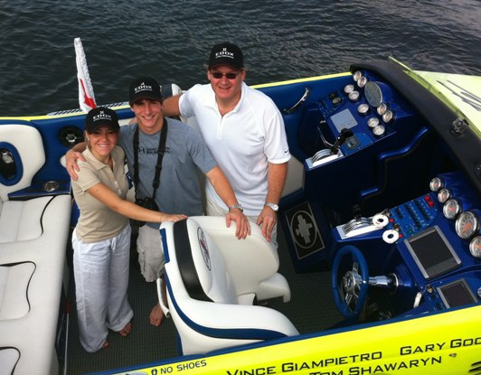 Edox Group Posing on the Miss Geico Cigarette Boat