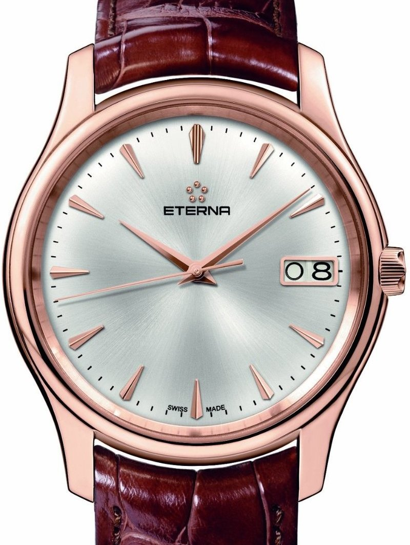 Eterna Mens 7630.69.10.1185 Vaughan Rose Gold Big Date Watch - Dial View