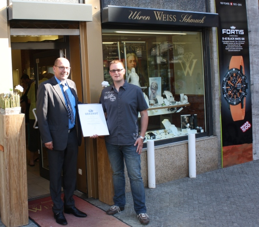 Hannes Bodensorf Receiving His Fortis Official Cosmonauts Chronograph Watch