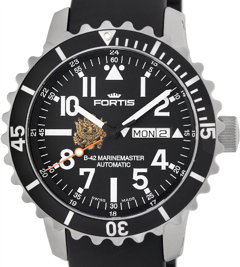 Fortis Mens 670.10.41 KE B-42 Marinemaster Limited Edition Army Emblem Day/Date Black Dial Watch