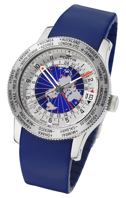 FORTIS Mens 674-20-15 Si05 Worldtimer Limited Edition Rotating Dial Watch