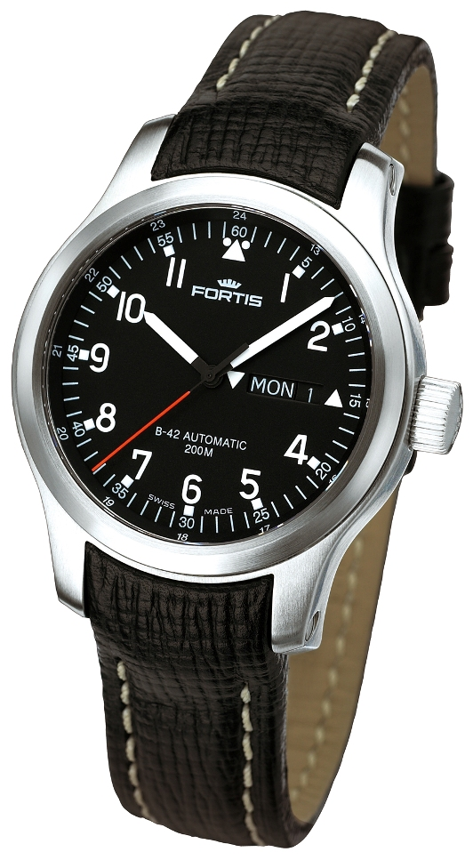 Fortis Mens 645.10.11 L01 B-42 Pilot Professional Day/Date Black Dial Watch