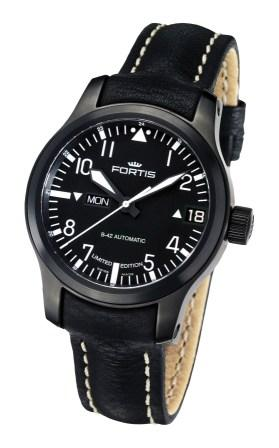 Fortis Mens B-42 Flieger Collection New Limited Edition Easy-to-Read Big Day Date Watches - Black PVD 655.18.91 L01