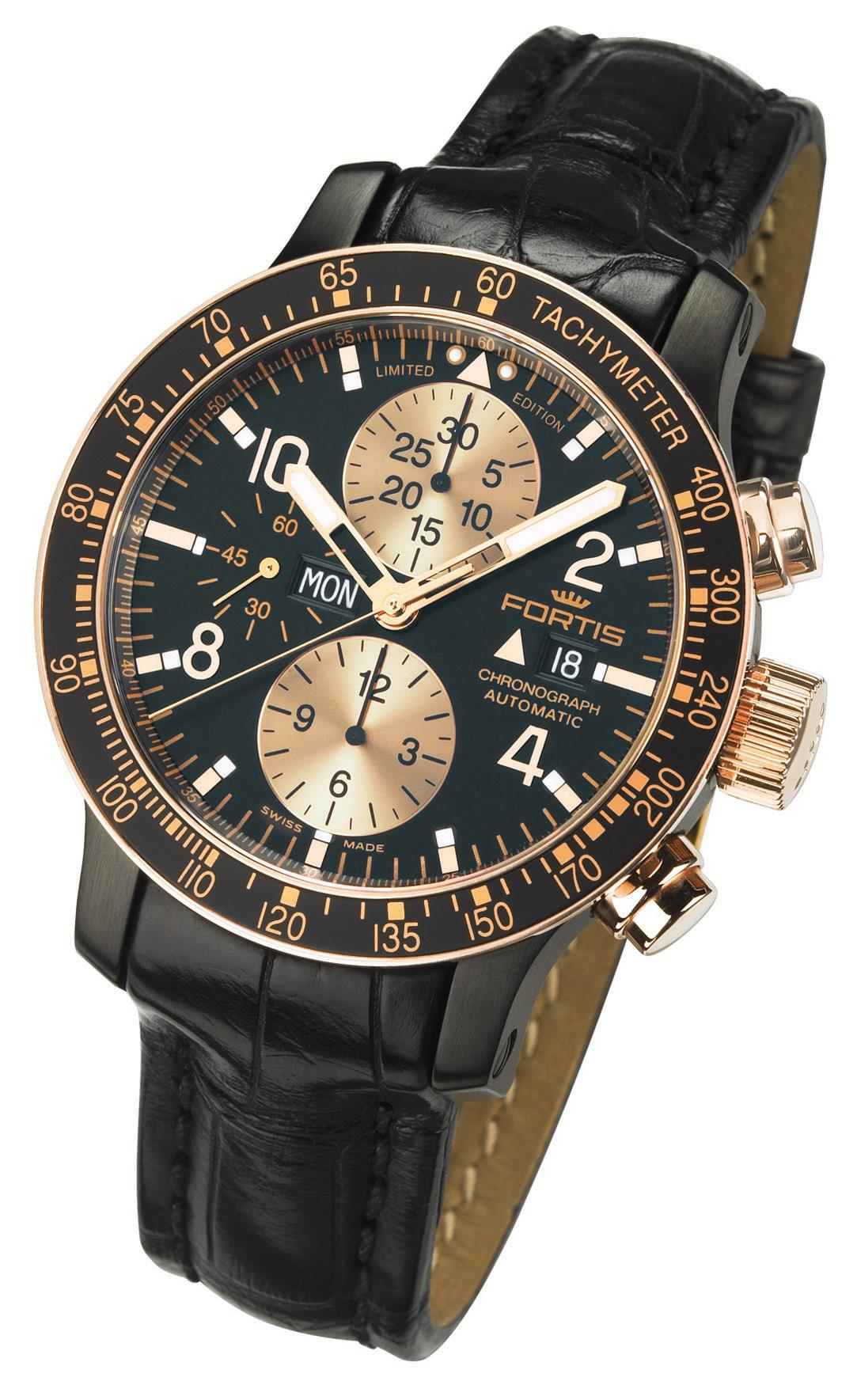 Fortis Mens 665.13.19 L.01 B-42 Stratoliner 100th Anniversary Limited Edition Black Dial Chronograph Watch