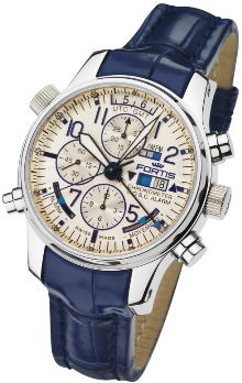 Fortis Mens 703.20.92 LC05 F-43 Flieger Limited Edition Chronograph Alarm GMT Chronometer C.O.S.C. Dual Power Reserve