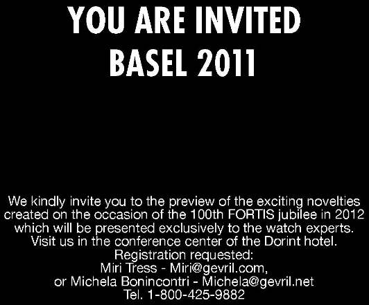 Fortis Watches in Basel - March 24-31, Set Up a Meeting Now with Miri Tress or Michela Bonincontri, Gevril Group