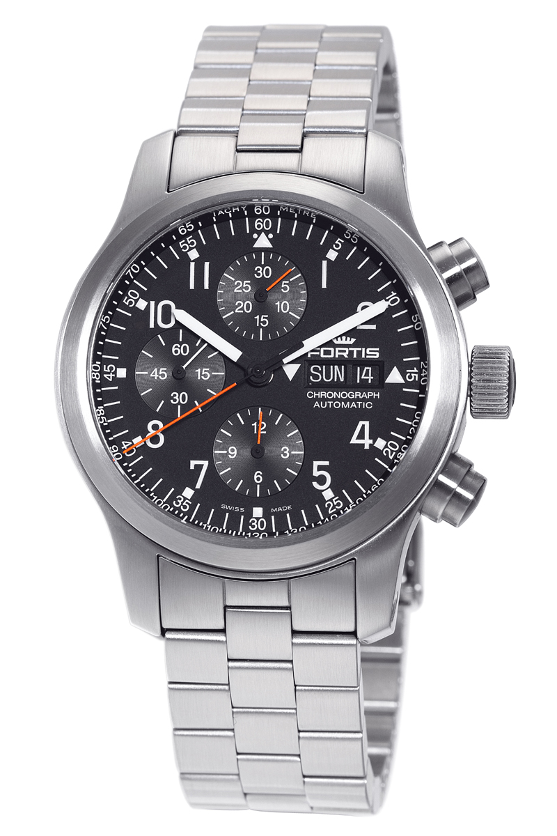 Fortis Mens 635.10.11.M B-42 Pilot Professional Black Dial Chronograph Aviator Watch