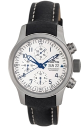 Fortis Mens 635.10.12.L.01 B-42 Flieger Automatic White Dial Chronograph Watch
