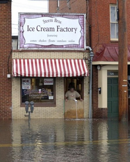 Hurricane Sandy Flooding, Shop Owner Looks On