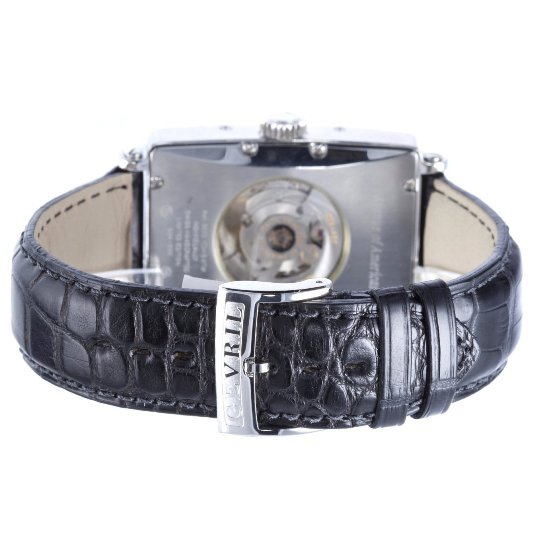 Black Crocodile Leather Strap on a Gevril Mens 5022 Avenue of Americas Watch