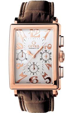 Gevril Mens 5110 Avenue of Americas Limited Edition Rose Gold Automatic Chronograph Watch - Front View