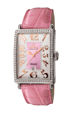 Gevril Ladies 6208RV Avenue of Americas Glamour Automatic Pink Diamond Watch