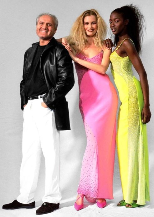 Claudia Schiffer and Naomi Campbell With Gianni Versace in Milan 1996