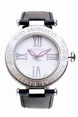 Gio Monaco Womens 781-A-F Mandolino Collection Quartz Musical Notes and Diamonds on Bezel White Dial Watch