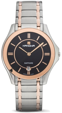 Hanowa Mens 16-5015.12.007 Ascot Collection Rose Gold Accents Black Dial Date Watch