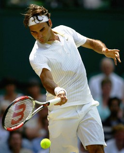 Roger Federer of Switzerland at Wimbledon