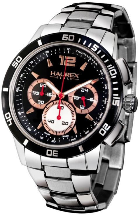 Haurex Mens 0A355UNH Premier Collection Rose Gold Accents Black Dial Chronograph Watch