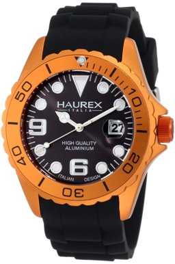 Haurex Mens 1K374UON INK Orange Aluminum Diver Watch