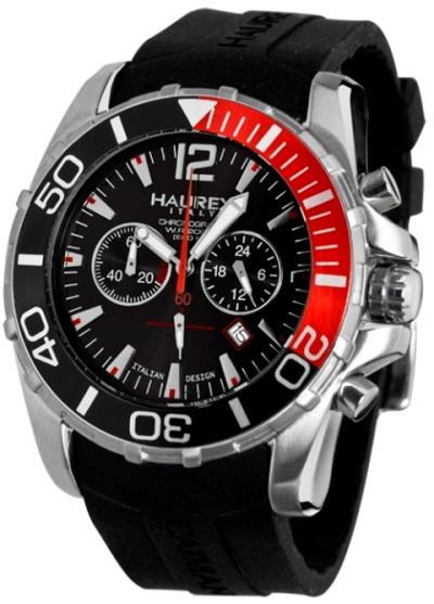 Haurex Mens 3A354UNR CAIMANO 2 Chronograph Black Dial Red Accents Divers Watch