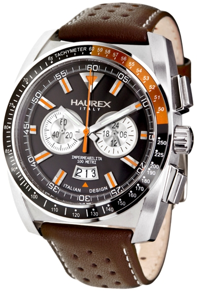 Haurex Mens 9A346UNO MPH Black Dial Orange Accents Racing Watch Gift Set Collection