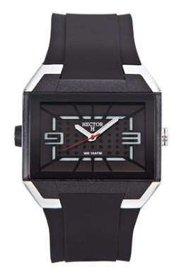 Hector H Mens 665245 Rectangual Rubber Black Textured Dial Watch
