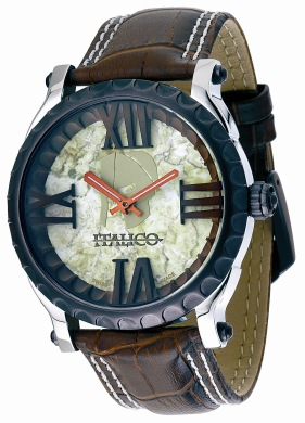 Italico Mens ITCB05-F Colosseum Collection Round Marbelized Green Dial Watch