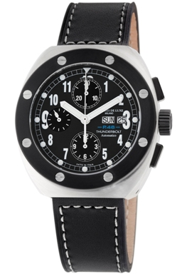 Montres De Luxe Mens TH7004 Thunderbolt Black Dial Chronograph Watch