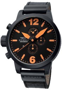 Haemmer Mens HC-07 Invader Orange Accents Oversize Black Dial Chronograph Watch