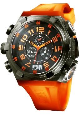 Offshore Limited Mens OFF001D Force 4 Black Dial Chronograph Watch Orange Accents
