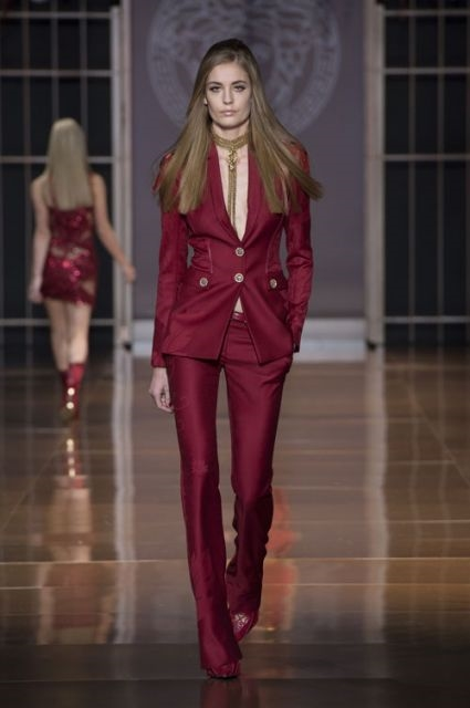 Marsala Pant Suit Walks Versace Runway