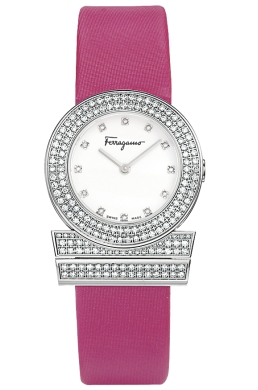 Ferragamo Ladies F56SBQ9101i S703 Gancino Collection Pink Band Diamond Watch