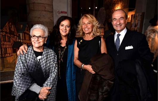Michele Norsa at the Ferragamo exhibit with wife, Maria Franca Norsa, and friends