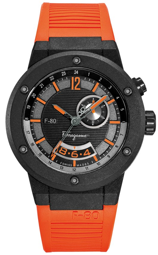 New New Ferragamo F-80 Carbon Fiber GMT Introduced at Baselworld 2012 - F55LGQ6876 SR62