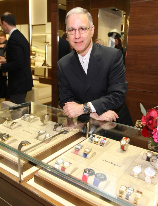 Paul Ziff Standing by Timepiece Display at Salvatore Ferragamo Fifth Avenue Flagship Boutique