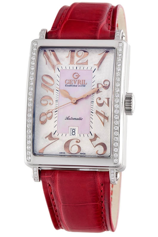 Gevril Womens Glamour MOP Swiss Made Automatic Watch 6208RE